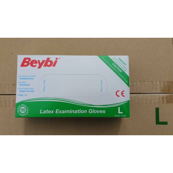 Kesztyű latex púderes S Beybi 100db
